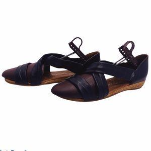 Gaimo Edras Black Leather Espadrille Sandals 10.5